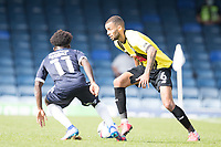 Warren Burrell, Harrogate Town,  under pressure from Terrell Egbri, Southend United, during Southend United vs Harrogate Town, Sky Bet EFL League 2 Football at Roots Hall on 12th September 2020