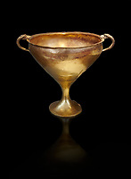 Mycenaean gold goblet with two handles ening with a dogs head biting the rim,  Acropolis Treasure of Mycenae, Greece, National Archaeological Museum of Athens.  Black Background<br /> <br /> This goblet was found as part of a hoard looted in antiquity from Grave Circle A and buried outside the enclosure. 15th century BC