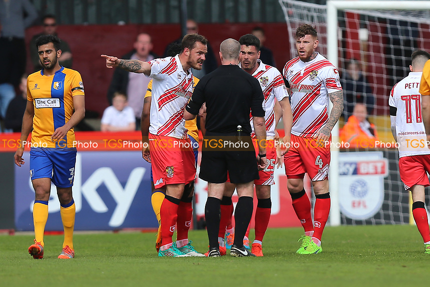 Stevenage players protest after a free-kick is given during Stevenage vs Mansfield Town, Sky Bet EFL League 2 Football at the Lamex Stadium on 22nd April 2017