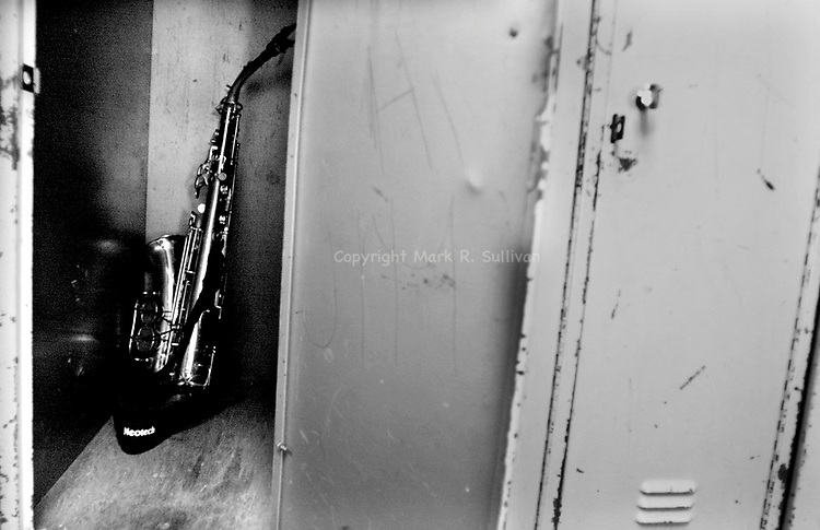 Sat Jan 27,2001..Saxophone in a locker at the Rahway High School..MARK R. SULLIVAN/markrsullivan.com