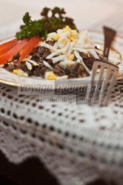 Europe/Voïvodie de Petite-Pologne/Cracovie: Caviar juif au Restaurant Klezmer-Hois - Foie de volaille , oignon et oeuf dur - restaurant de cuisine juive