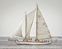 """Formerly David Crosby's boat now berthed in the Santa Cruz Harbor.  Crosby owned the Alden 356-B Centerboard Schooner for 45 years and wrote """"Wooden Ships,"""" """"Carry Me,"""" and many other CSNY tunes on board.  This photo was taken as she was preparing for the Double Angle race on Monterey Bay."""