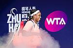Sloane Stephens of the United States walks to the court prior to the singles Round Robin match of the WTA Elite Trophy ZHUHAI 2017 against Anastasija Sevastova of Latvia at Hengqin Tennis Center on November  01, 2017 in Zhuhai, China.Photo by Yu Chun Christopher Wong / Power Sport Images