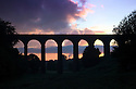 20/08/14 <br /> <br /> The sun rises on a chilly dawn under a railway viaduct in Buxton in the Derbyshire Peak District.<br /> <br /> All Rights Reserved: F Stop Press Ltd. +44(0)1335 300098   www.fstoppress.com.
