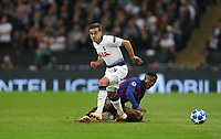 Tottenham Hotspur's Harry Winks and Barcelona's Nelson Semedo<br /> <br /> Photographer Rob Newell/CameraSport<br /> <br /> UEFA Champions League Group B - Tottenham Hotspur v Barcelona - Wednesday 3rd October 2018 - Wembley Stadium - London<br />  <br /> World Copyright © 2018 CameraSport. All rights reserved. 43 Linden Ave. Countesthorpe. Leicester. England. LE8 5PG - Tel: +44 (0) 116 277 4147 - admin@camerasport.com - www.camerasport.com