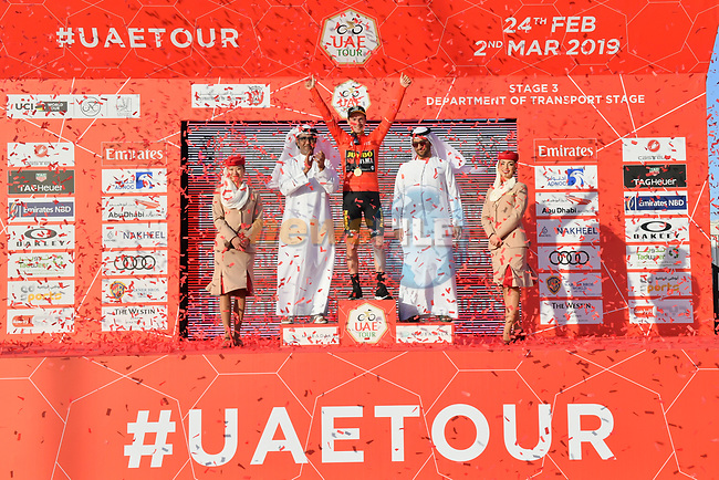 Race leader Primoz Roglic (SLO) Team Jumbo-Visma retains the Red Jersey at the end of Stage 3 of the 2019 UAE Tour, running 179km form Al Ain to Jebel Hafeet, Abu Dhabi, United Arab Emirates. 26th February 2019.<br /> Picture: LaPresse/Massimo Paolone | Cyclefile<br /> <br /> <br /> All photos usage must carry mandatory copyright credit (© Cyclefile | LaPresse/Massimo Paolone)