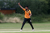 S Kamal of Gidea Park claims the wicket of S Khan during Gidea Park and Romford CC vs Harold Wood CC, Shepherd Neame Essex League Cricket at Gidea Park Sports Ground on 6th July 2019