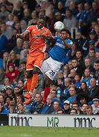 Portsmouth's Nathan Thompson (right) battles with Shrewsbury Town's Omar Beckles (left) <br /> <br /> Photographer David Horton/CameraSport<br /> <br /> The EFL Sky Bet League One - Portsmouth v Shrewsbury Town - Saturday September 8th 2018 - Fratton Park - Portsmouth<br /> <br /> World Copyright &copy; 2018 CameraSport. All rights reserved. 43 Linden Ave. Countesthorpe. Leicester. England. LE8 5PG - Tel: +44 (0) 116 277 4147 - admin@camerasport.com - www.camerasport.com