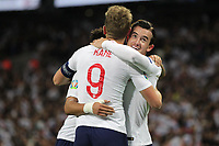 Harry Kane of England celebrates with Ben Chilwell (R) after scoring to make it 3-0 during the UEFA Euro 2020 Qualifying Group A match between England and Montenegro at Wembley Stadium on November 14th 2019 in London, England. (Photo by Matt Bradshaw/phcimages.com)<br /> Foto PHC Images / Insidefoto <br /> ITALY ONLY