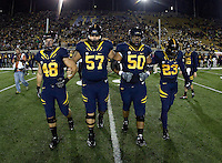 California captains' Eric Stevens, Brian Schwenke, Aaron Tipoti and Josh Hill walk on the field for coin toss before the game against Oregon at Memorial Stadium in Berkeley, California on November 10th, 2012.   Oregon Ducks defeated California Bears, 59-17.