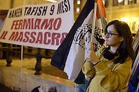Roma 16 Novembre 2012.Piazza Montecitorio.Manifestazione contro il massacro a Gaza e i bombardamenti da parte dell'esercito israeliano sulla popolazione palestinese..Sullo striscione Haneen Tafish ucciso a 9 mesi
