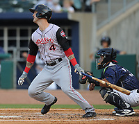 NWA Democrat-Gazette/ANDY SHUPE<br /> Arkansas Travelers second baseman Jeff Kobernus connects with the ball to score a run Saturday, June 10, 2017, during the fourth inning against the Northwest Arkansas Naturals at Arvest Ballpark in Springdale. Visit nwadg.com/photos to see more photographs from the game.