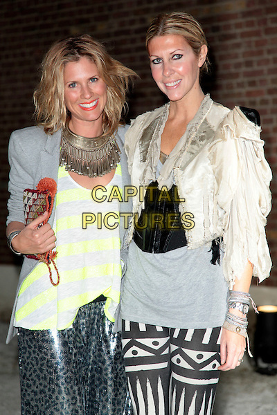 HEIDI MIDDLETON & SARAH-JANE CLARKE.The Sass and Bide auction launch party at the Dairy, London, England. .July 23rd, 2009.half length grey gray white yellow cream top jacket striped stripes necklace pattern silver .CAP/CAS.©Bob Cass/Capital Pictures.