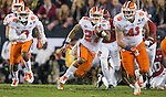 Clemson kick returner C.J. Fuller heads upfield on the final drive against Alabama in the second half of the 2017 College Football Playoff National Championship in Tampa, Florida on January 9, 2017.  Clemson defeated Alabama 35-31. Photo by Mark Wallheiser/UPI