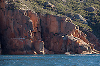 Wild side of Freycinet NP coastline as seen from  adventure cruise