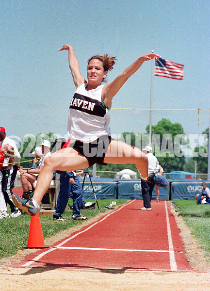 Strath Haven's Liz Morkana, competes in the AA Girls Long Jump on Friday May 21, 1998, during the PIAA Track and Field State Championships at Shippensburg University in Shippensburg, PA. (AP Photo/Bill Cain)