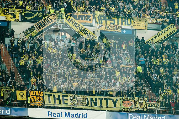 Borussia Dortmund supporters during Champions League match between Real Madrid and Borussia Dortmund  at Santiago Bernabeu Stadium in Madrid , Spain. December 07, 2016. (ALTERPHOTOS/Rodrigo Jimenez)