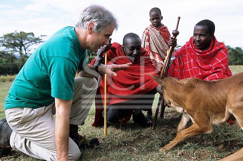 Lolgorian, Kenya. Siria Maasai; White man discussing cattle husbandry with Samuel Sakaja and his son also Samuel.