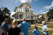 The Merrimon-Wynne home, a classic 19th-century victorian mansion weighing around 250 tons, is moved across Blount St. to its new location in the Blount Street Commns redevelopment project near downtown Raleigh, NC.