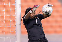 HOUSTON, TX - JANUARY 28: Yenith Bailey #1 of Panama makes a save during a game between Costa Rica and Panama at BBVA Stadium on January 28, 2020 in Houston, Texas.