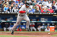 Boston right fielder J. D. Drew bats against the Royals at Kauffman Stadium in Kansas City, Missouri on April 5, 2007. The Red Sox won 4-1.