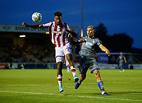Stoke City's Tyrese Campbell vies for possession with Lincoln City's Harry Anderson<br /> <br /> Photographer Chris Vaughan/CameraSport<br /> <br /> Football Pre-Season Friendly - Lincoln City v Stoke City - Wednesday July 24th 2019 - Sincil Bank - Lincoln<br /> <br /> World Copyright © 2019 CameraSport. All rights reserved. 43 Linden Ave. Countesthorpe. Leicester. England. LE8 5PG - Tel: +44 (0) 116 277 4147 - admin@camerasport.com - www.camerasport.com