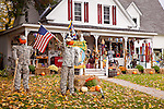 Pumpkin people at Flossies Country Store in Jackson, White Mountains, NH, USA