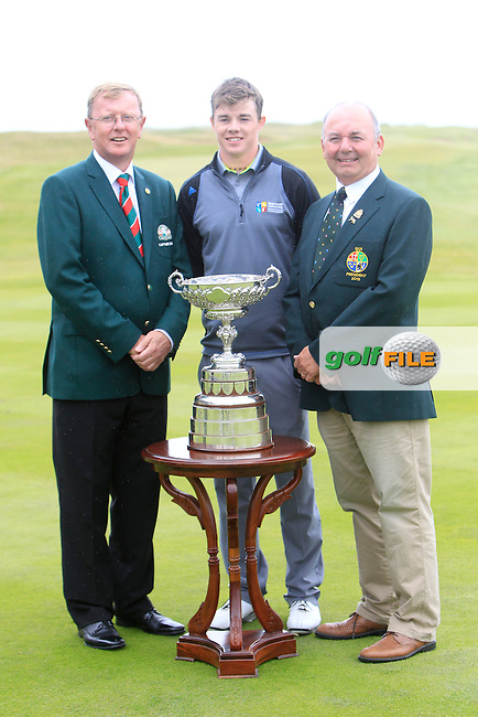 Dan O' Donovan (Captain LaHinch Golf Club), Stuart Grehan (Tullamore) and Michael Connaughton (GUI President) before the final round of the South of Ireland Amateur Open Championship at LaHinch Golf Club on Sunday 26th July 2015.<br /> Picture:  Golffile | TJ Caffrey