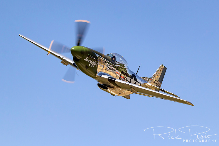 "P-51D Mustang 44-63807 (N20MS) ""Daddy's Girl"" in flight over Nevada County Airport."