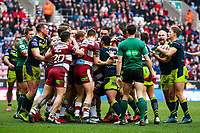 Picture by Alex Whitehead/SWpix.com - 11/03/2018 - Rugby League - Betfred Super League - Wigan Warriors v Wakefield Trinity - DW Stadium, Wigan, England - Both sets of players clash.