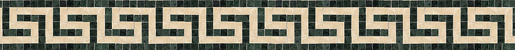 "4"" Saluzzo border, a hand-cut stone mosaic, shown in polished Verde Alpi and Travertine White."