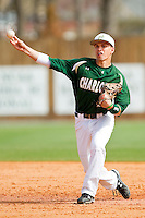 Second baseman Brad Elwood #2 of the Charlotte 49ers makes a throw to first base against the Saint Peter's Peacocks at Robert and Mariam Hayes Stadium on February 18, 2012 in Charlotte, North Carolina.  Brian Westerholt / Four Seam Images