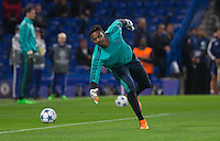 Goalkeeper Jamal Blackman of Chelsea warms up during the UEFA Champions League match between Chelsea and Maccabi Tel Aviv at Stamford Bridge, London, England on 16 September 2015. Photo by Andy Rowland.