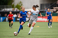 Seattle, WA - Sunday, August 13, 2017: Abby Erceg and Lindsay Elston during a regular season National Women's Soccer League (NWSL) match between the Seattle Reign FC and the North Carolina Courage at Memorial Stadium.