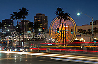 The Pike Ferris Wheel and Pike Outlets at Night Downtown Long Beach