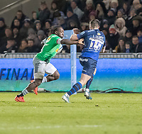 3rd January 2020; AJ Bell Stadium, Salford, Lancashire, England; English Premiership Rugby, Sale Sharks versus Harlequins;  Gabriel Ibitoye  of Harlequins is tracked by Luke James of Sale Sharks  - Editorial Use