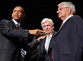 "United States President Barack Obama (L) points to U.S. Senate Banking Committee Chairman Christopher Dodd (D-CT) (C) and U.S. House Financial Services Committee Chairman Barney Frank (D-MA) after signing the the financial reform bill into law during a ceremony at the Ronald Reagan Building and International Trade Center Wednesday, July 21, 2010 in Washington, DC. A sweeping expansion of federal financial regulation in the wake of the worst recession since the Great Depression, the bill will create a consumer protection agency, lay out a blueprint for disassembling financial entities considered ""too big to fail,"" as well as many other  reforms.  .Credit: Chip Somodevilla - Pool via CNP"