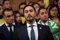 United States Representative Joaquin Castro (Democrat of Texas), joined by other Democratic lawmakers, attends a press conference on the Deferred Action for Childhood Arrivals program on Capitol Hill in Washington D.C., U.S. on Tuesday, November 12, 2019.  The Supreme Court is currently hearing a case that will determine the legality and future of the DACA program.  <br /> <br /> Credit: Stefani Reynolds / CNP /MediaPunch