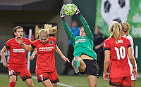 Portland, Oregon - Sunday September 11, 2016: Portland Thorns FC goalkeeper Michelle Betos (18) makes a save off a corner kick during a regular season National Women's Soccer League (NWSL) match at Providence Park.