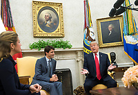 United States President Donald Trump speaks alongside Canadian Prime Minister Justin Trudeau during a meeting in the Oval Office at the White House in Washington, D.C. on October 11, 2017. <br /> Credit: Kevin Dietsch / Pool via CNP /MediaPunch<br /> CAP/MPI/RS<br /> &copy;RS/MPI/Capital Pictures