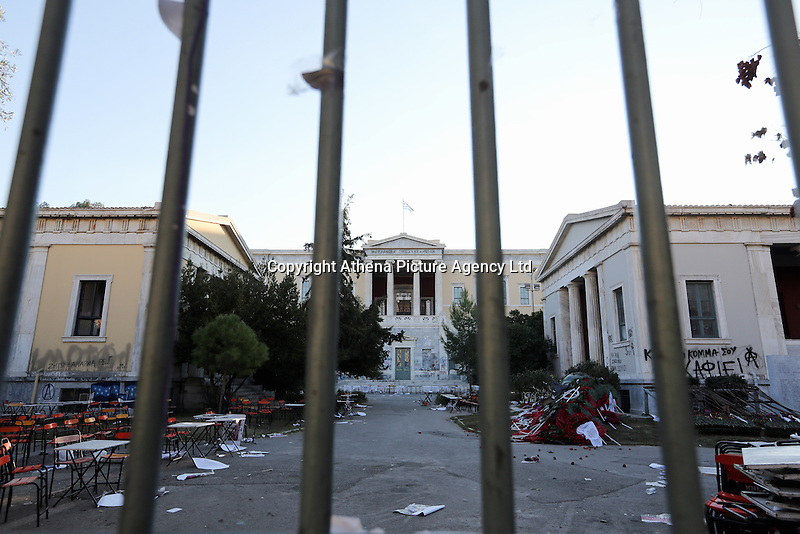 Pictured: The Athens Polytechinc in Athens Greece. Thursday 17 November 2016<br /> Re: 43rd anniversary of the Athens Polytechnic uprising of 1973 which was a massive demonstration of popular rejection of the Greek military junta of 1967–1974. The uprising began on November 14, 1973, escalated to an open anti-junta revolt and ended in bloodshed in the early morning of November 17 after a series of events starting with a tank crashing through the gates of the Polytechnic.