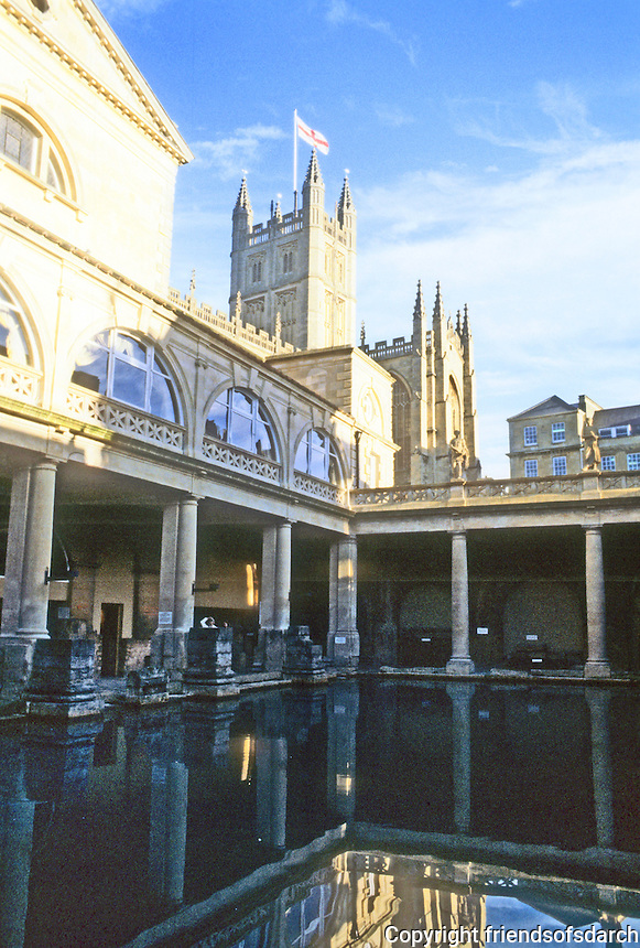 Bath: Roman Baths and in background, Abbey Church.