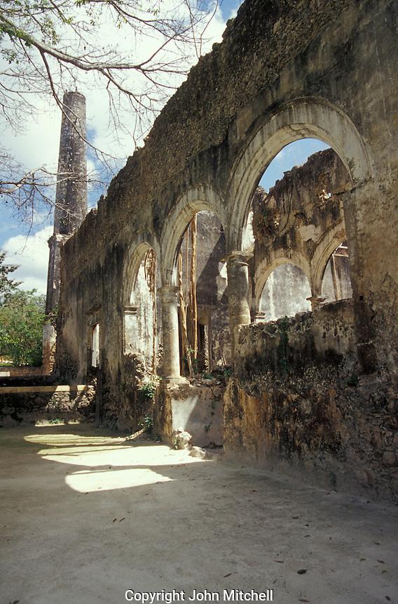 Ruins of henequen processing facilities at hacienda Uaymon, Campeche state, Mexico