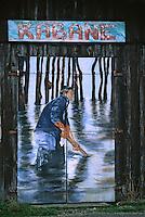 Europe/France/Aquitaine/33/Gironde/Bassin d'Arcachon/La Teste-de-Buch: Port Ostréicole - Détail porte peinte d'un cabanon d'ostréiculteur