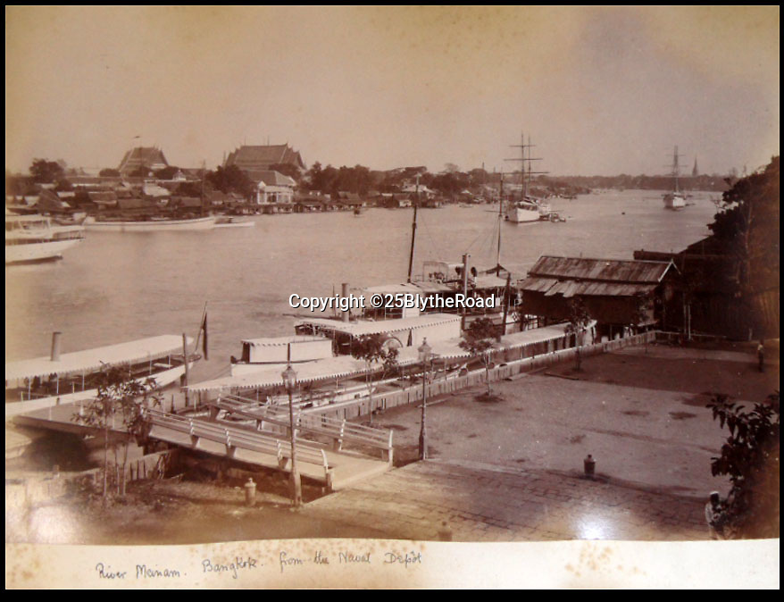 BNPS.co.uk (01202 558833)<br /> Pic: 25BlytheRoad/BNPS<br /> <br /> View of Bangkok from the Naval depot.<br /> <br /> Stunning 125 year-old pictures of Thailand which showcase the tropical paradise long before it became a tourist hot-spot have emerged.<br /> <br /> The collection of photographs from the early 1890s include images of the King's birthday celebrations in 1892, the King's palace and the Bangkok architecture.<br /> <br /> Also included in the collection are photographs of Hong Kong under British crown rule in 1895 including of British seamen, the Hong Kong cricket team and the native army.<br /> <br /> The photo album will go under the hammer on January 25 and is tipped to sell for £1,500.<br /> <br /> The owner of the album is believed to have been a member of the Royal Engineers or connected with them.<br /> <br /> The fascinating photos provide a snapshot of Thailand under the rule of King Chulalongkorn.<br /> <br /> He was the first Siamese king to have a full western education, having been taught by British governess Anna Leonowens whose memoirs were transported to the silver screen in the famous film The King and I.
