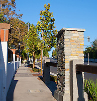 """Parkway at the southeast corner of Grand and Longview.  Highlights include a rock column and wooden beams.  This was part of the 2015 rebuild of the Grand Avenue and Longview Drive intersection for Diamond Bar's 2015 """"Grand Avenue Beautification"""" project, landscape architecture for the project was by David Volz Design."""