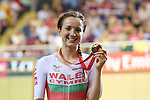 Glasgow 2014 Commonwealth Games<br /> Elinor Barker (Wales) with her bronze medal.<br /> Womens 10km Scratch Race<br /> Sir Chris Hoy Velodrome<br /> 26.07.14<br /> ©Steve Pope-SPORTINGWALES