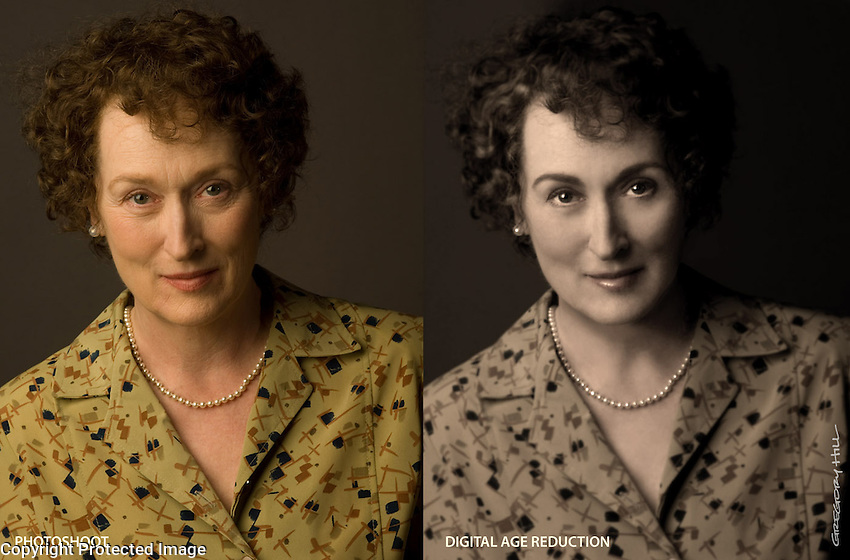 Meryl Streep did a photo shoot for the Julia Child book cover, and I needed to make her younger as well as reproducing the feeling of the real Julia Child photo.