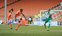 Blackpool's Armand Gnanduillet under pressure from Plymouth Argyle's Oscar Threlkeld<br /> <br /> Photographer Kevin Barnes/CameraSport<br /> <br /> The EFL Sky Bet League One - Blackpool v Plymouth Argyle - Saturday 30th March 2019 - Bloomfield Road - Blackpool<br /> <br /> World Copyright © 2019 CameraSport. All rights reserved. 43 Linden Ave. Countesthorpe. Leicester. England. LE8 5PG - Tel: +44 (0) 116 277 4147 - admin@camerasport.com - www.camerasport.com