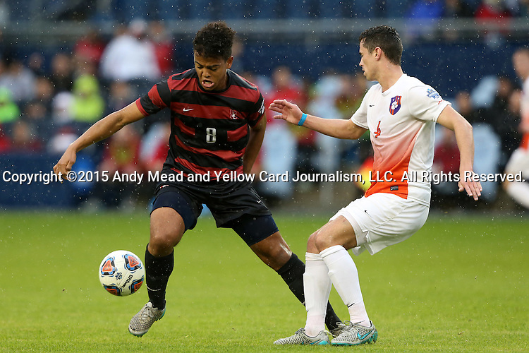 13 December 2015: Stanford's Brian Nana-Sinkam (8) and Clemson's Oliver Shannon (ENG) (4). The Clemson University Tigers played the Stanford University Cardinal at Sporting Park in Kansas City, Kansas in the 2015 NCAA Division I Men's College Cup championship match. Stanford won the game 4-0.